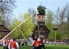 Tradiční lidová májová slavnost STAVĚNÍ MÁJE ve Valašském muzeu vpřírodě vRožnově pod Radhoštěm