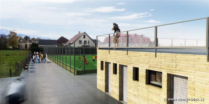 Plánované sportoviště v Hrádku ve vizualizaci