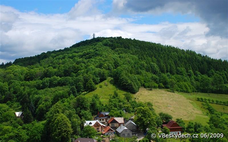 Rozhledna na Bílé hoře, pohled z Trúby ve Štramberku
