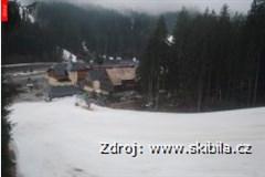 Bílá - centrum, hotel Bauer, pohled ze sjezdovky Ski areál Bílá